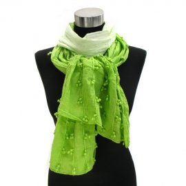 Scarf Lime Green Cotton Ombre accent cluster balls