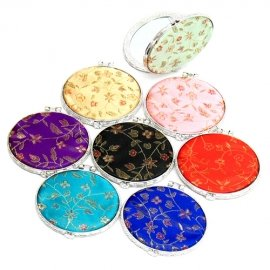 One Cosmetic Mirror Satin Fabric round lightweight Make Up Compact