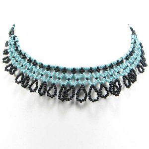 Frill Beadwork Choker Necklace Sea Green & Black Detailed Seed Beads