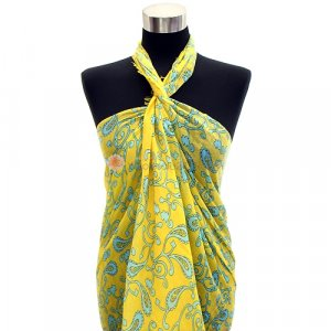 Pareo Paisley Print Sarong Yellow &amp; Mint Green Shawl Cotton Scarf Wrap