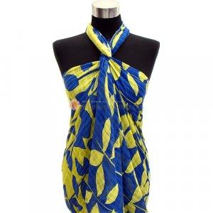 Sarong Tropical Leaves Print Pareo Yellow & Blue Shawl Cotton Scarf Wrap