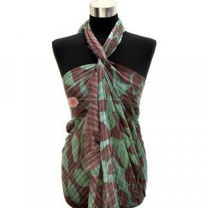 Sarong Tropical Leaves Print Pareo Tan & Green Shawl Cotton Scarf Wrap