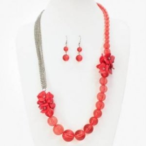 Necklace Earrings Flower Cluster Coral Ball Bead Rhodium Plated