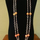 Viva Beads Long Strand Necklace Wild Orange Handmade Clay Beads