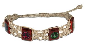 Hemp Bracelet Wooden Peace Signs Adjustable Hippie Style Fashion Jewelry