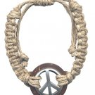 Wood Pewter Peace Sign Pendant Adjustable Hemp Bracelet Hippie Jewelry