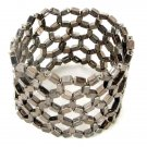 Cuff Bracelet Beaded Stretch Resine Beads Hemetite Net Weave Light Weight