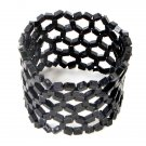 Cuff Bracelet Beaded Stretch Resine Beads Black Net Weave Light Weight