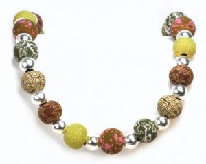 Viva Beads Clay Classic Silverball Necklace Sage Green eco-friendly jewelry