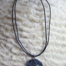 Paua Shell Pendant Leather Double Cord Necklace Chain Extender