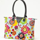 Long Handle Fold Up Tote Bag Flower Power JoAnn Marie Designs