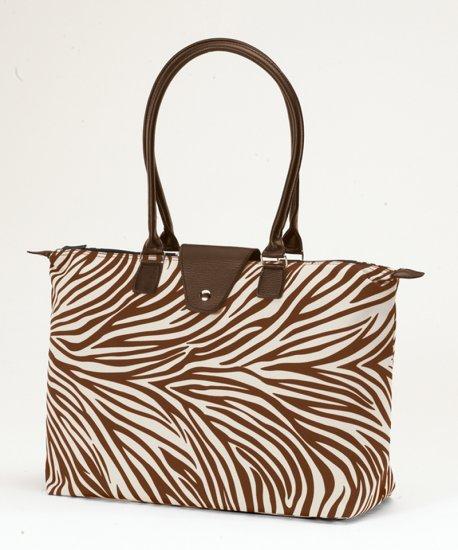 Long Handle Fold Up Tote Bag Brown Creme Zebra JoAnn Marie Designs