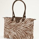 Long Handle Fold Up Tote Bag Brown Creme Zebra JoAnn Marie Designs