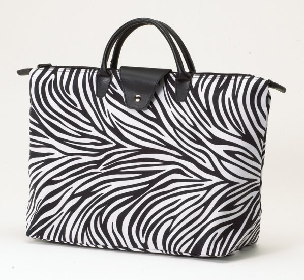 JoAnn Marie Designs Zebra Short Handle Fold Up Tote Bag Black White