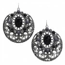 Earrings Black Stones Rhinestones Round Dangles Antique Silver