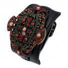 Wrap Bracelet Red Crystals Black Strap w/ Buckle Gothic Style