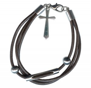 Bracelet Dangle Cross Charm Three Strands of Leather Silver Tone