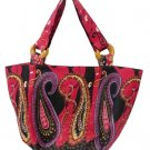 Bag Bohemian Cherry Paisley Shoulder Tote Purse Cotton
