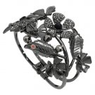 Bracelet Hinged Bangle Floral Theme Hematite Plated Rhinestones