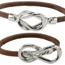 One Leather Bracelet Silver Tone Clasp Hippie Style