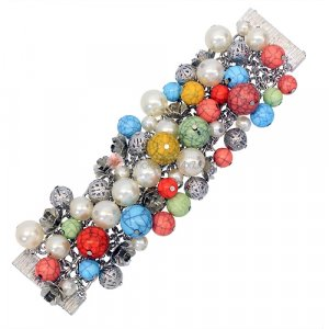 Bead Cluster Bracelet White Pearl Beads Multi-Colored Gemstone Look