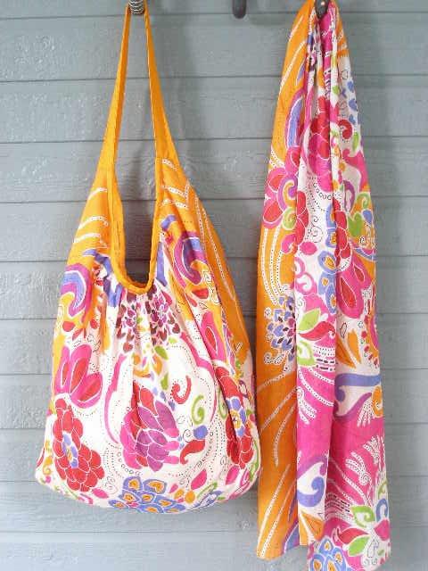 Colorful Orange Print Hobo Bag & Scarf Set Cotton Zip Close Tote