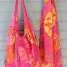 Colorful Cherry Print Hobo Bag & Scarf Set Cotton Zip Close Tote