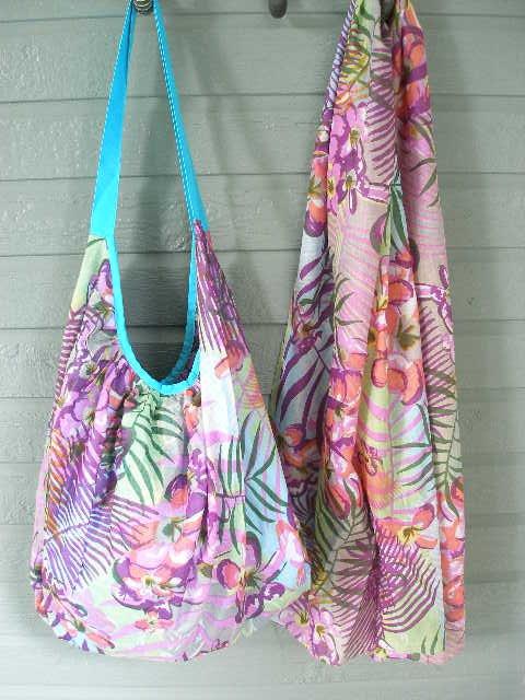 Colorful Grape Print Hobo Bag & Scarf Set Cotton Zip Close Tote