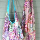 Colorful Grape Print Hobo Bag & Scarf Set Cotton Zip Close Tote