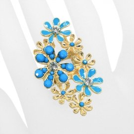 Turquoise Flower Stretch Ring Gold Plated Clear Rhinestones