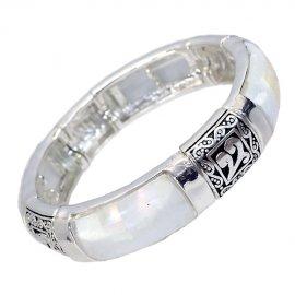 Stretch Bangle Bracelet Mother of Pearl Silver Plated Adjustable