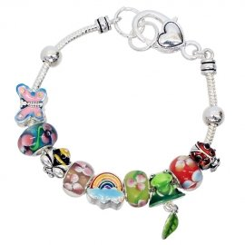 Charm Bracelet Story Telling Colorful Beads Antique Silver Plated