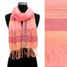 Scarf Coral Pink Shawl Fringed Wide Stripes Soft Wrap