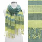 Scarf Multi Green Shawl Fringed Wide Stripes Soft Wrap