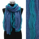 Scarf Two Tone Blue Knit Ruffle Chiffon Edge Shawl Wrap