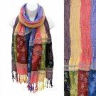 Scarf Long Wrap Shawl Multi Color Stripes Fringe Bright Colors