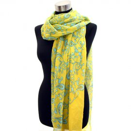 Scarf Wrap Paisley Yellow & Mint Green Shawl Cotton Sarong Pareo