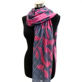 Scarf Tropical Leaves Cotton Shawl Wrap Fuchsia Pink &amp; Gray Pareo Sarong