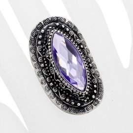 Tanzanite Rhinestone Ring Stretch Band Silver Plate Antique Oval Style