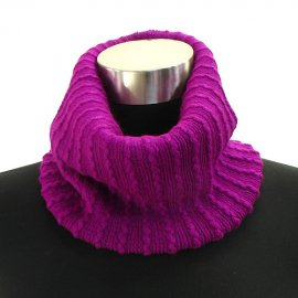 Two Way Cable Knit Neck Warmer Beanie Hat Cap Berry Acrylic