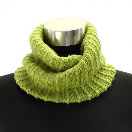 Two Way Cable Knit Neck Warmer Beanie Hat Cap Lime Green Acrylic