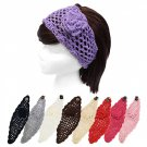 Crocheted Flower Head Wrap Button Adjustable Fit Headband 6 Colors