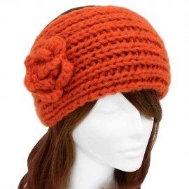 Orange Headband Wide Hand Knitted w/ Flower Soft Acrylic Hair Wrap