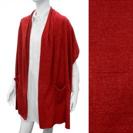 Shawl Wrap with Pockets Deep Red Sweater Light Weight Scarf