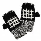 Fingerless Gloves Black White Knitted Handmade Fleece Inside 1 Size