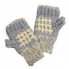 Fingerless Gloves Gray Cream Knitted Handmade Fleece Inside 1 Size