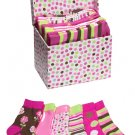 Socks in a Box 6 Pair Baby Girl Flowers Circles Stripes Keepsake Box