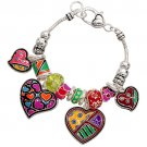 Charm Bracelet Colorful Hearts Love Theme Beads Antique Silver Plate