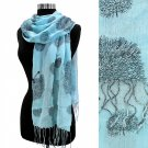 Scarf Blue Tree of Life Cotton Linen Long Shawl Wrap Light Weight