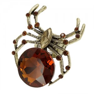 Ring Spider Crystal Topaz Rhinestones Stretch Style Gold Plate Band
